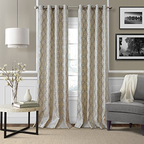 Silver Metallic Print (Elrene Home Fashions Modern Metal Print Linen Single Panel Window Curtain Drape, 50