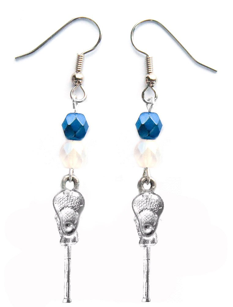 ''Lacrosse Stick & Ball'' Lacrosse Earrings (Team Colors Navy Blue & White)