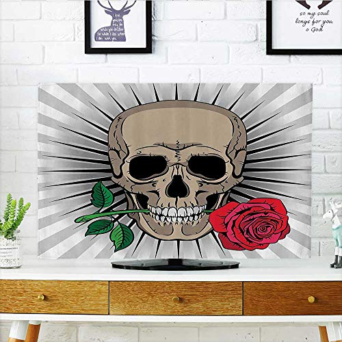 L-QN TV dust Cover Skull Holding Rose in His Mouth Striped Background Culture Historic Party TV dust Cover W30 x H50 INCH/TV 52