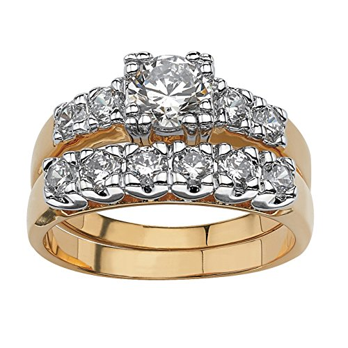 (Palm Beach Jewelry 18K Yellow Gold-Plated Round Cubic Zirconia Two Tone Bridal Ring Set Size 6)
