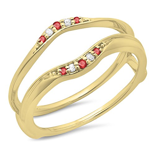 Dazzlingrock Collection 10K Yellow Gold Round Ruby & White Diamond Ladies Anniversary Band Guard Double Ring (Size 7) -