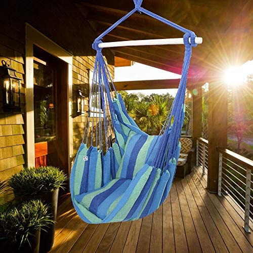 ONCLOUD Hanging Rope Hammock Chair Swing Seat for Yard, Bedroom, Patio, Porch, Indoor Outdoor – 2 Seat Cushions Included Blue