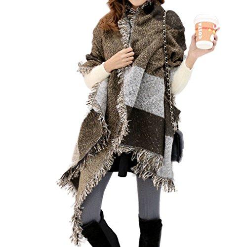 (FENTI Winter Fashion Stylish Fringe Plaid Scarf, Cashmere Feel Long Pashmina , Coffee Brown Grey , 98*26 inch)