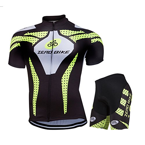 ZEROBIKE Men's Short Sleeve Breathable Cycling Jersey 3D Padded Shorts Sportswear Suit Set Breathable Quick Dry