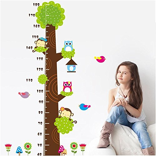 Height Measurement Growth Chart Tree Cute Monkey and Owls Wall Vinly Decal Decor Sticker