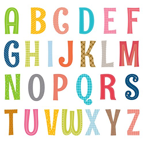 Decowall DA-1701A Uppercase Alphabet ABC Letter Kids Wall Decals Wall Stickers Peel and Stick Removable Wall Stickers for Kids Nursery Bedroom Living Room