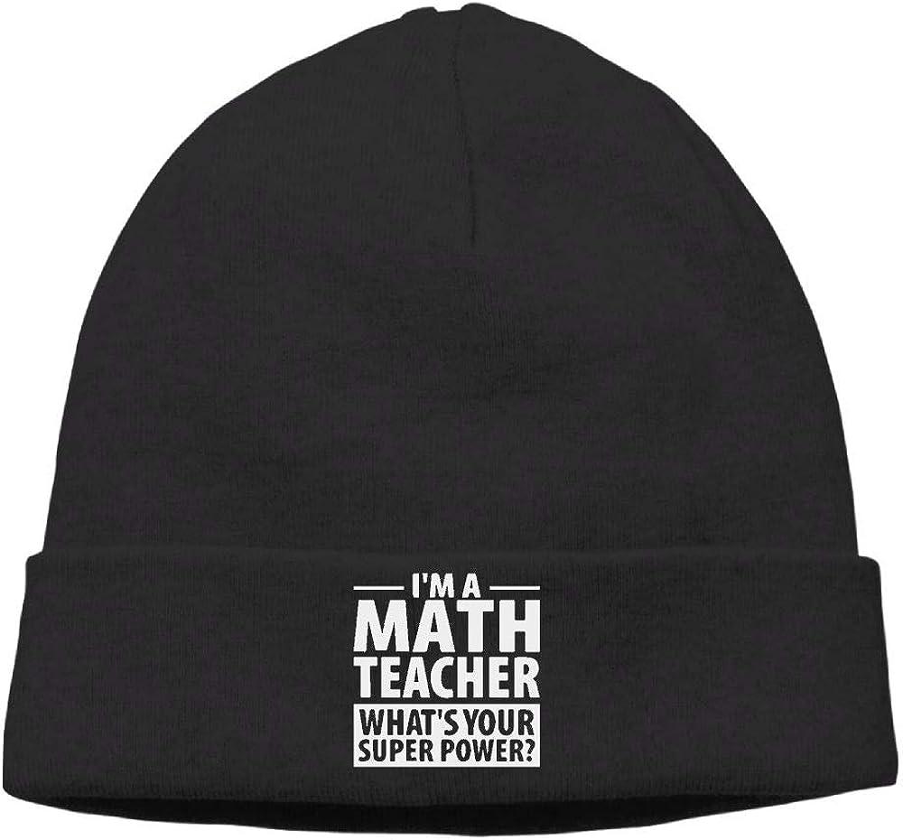 Warm Knit Cap for Men Women Im A Math Teacher Whats Your Super Power Stocking Cap
