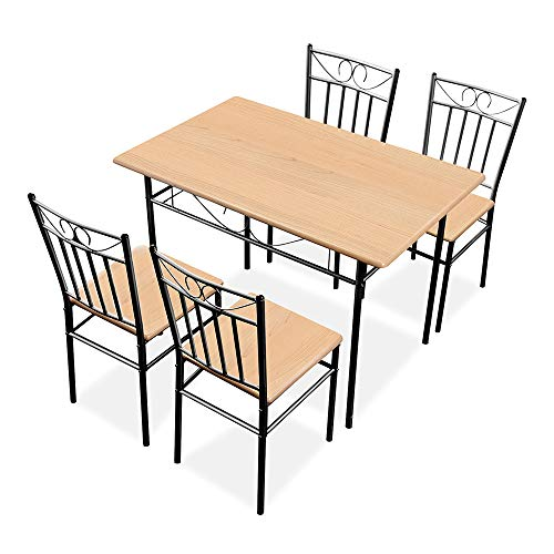 Romatlink 5 Pieces Dining Table Set 4 Person Home Kitchen Table and Chairs Wood and Metal Dining Room Breakfast Furniture, 4 Chairs Metal Wood Home Kitchen Modern Furniture (Table Four Person)