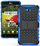 NAKEDCELLPHONE BLUE GRENADE GRIP RUGGED TPU SKIN HARD CASE COVER STAND FOR LG G PRO LITE PHONE (D680, D682, D684, D686, Unlocked)