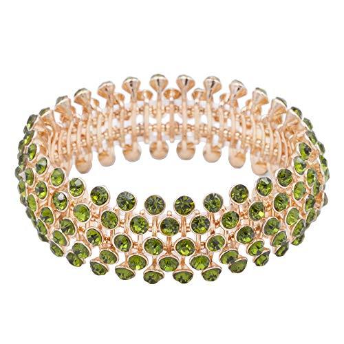 Rhinestone Green Bangle - Lavencious Tennis 5 Row Rhinestone Stretch Bracelets Bridal Evening Party Jewelry for Woman Bangle (Green)