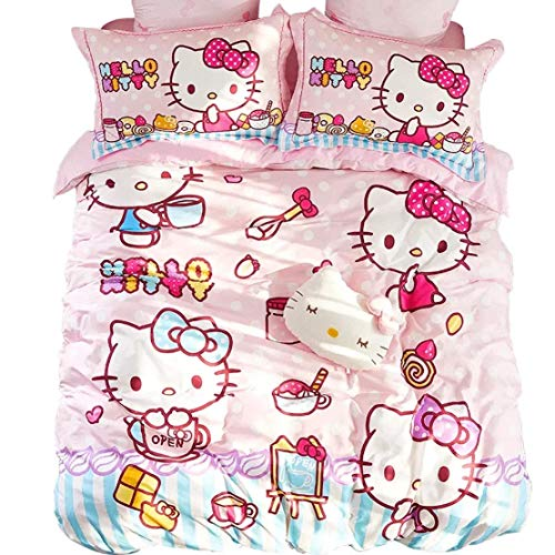 - Peachy Baby Featuring Hello Kitty Bedding Set 3 and 4 Pieces Single Queen Twin Size Cotton Pink Cute Cartoon Animate Girly (A) Queen Size