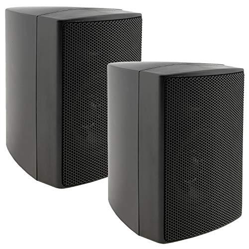 ChiliTec 2-weg luidspreker zwart, paar, wandluidsprekers voor hifi-stereo-installatie, thuisbioscoop, 40 watt 8 ohm