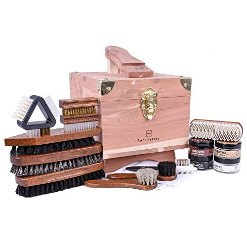 - FootFitter Grand Cedar Shoe Shine Valet Set with Shoe Cream- All In One Shoe Care Kit