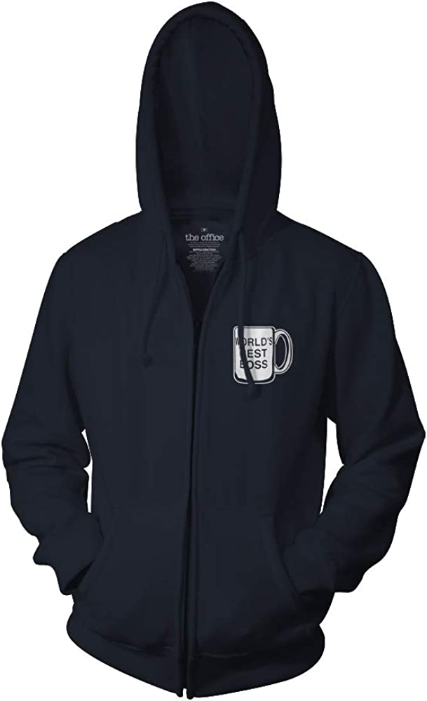 Ripple Junction The Office Adult Unisex Worlds Best Boss and Dunder Full Zip Fleece Hoodie