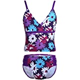 dPois Kids Girls' Two-Pieces Floral Printed Camisole Tops Top Tankini Swimsuit with Bottoms