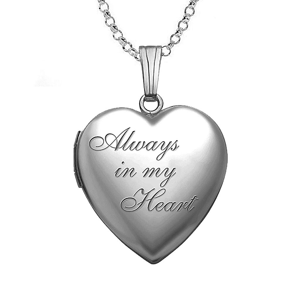 PicturesOnGold.com Always in My Heart Silver Heart Locket Pendant Necklace - 3/4 Inch X 3/4 Inch - Includes Sterling Silver 18 inch Cable Chain. (Locket + Photo)