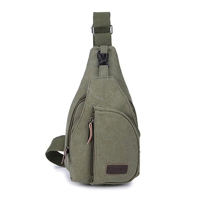 Men Plain Canvas Military Messenger Cross Body Sling Shoulder Casual Chest Bag
