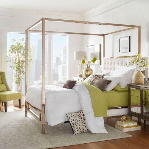 HomeHills Adora White Glam Champagne Brass Canopy Bed