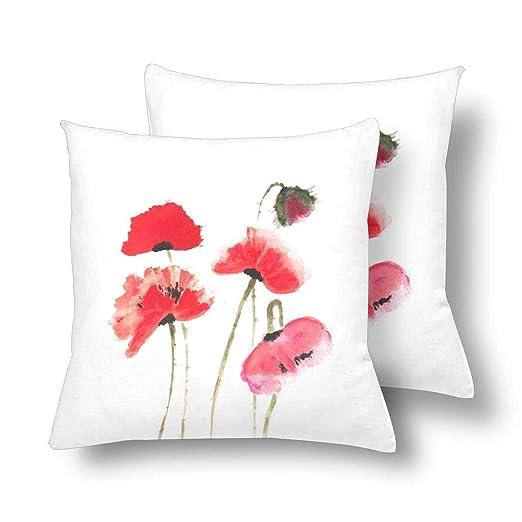 CHARMHOME - Fundas de almohada de satén con flores naturales ...