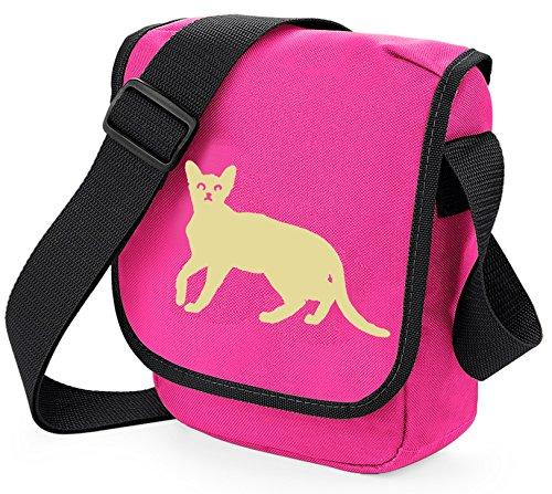 Bag Pixie Bolso al hombro de poliéster para mujer S Cream Cat Pink Bag