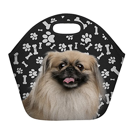 Pekingese Dog Paws Print Insulated Lunch Bag for Women Men or Kids, Hot/Cooler Multi-purpose Work/Picnic Tote