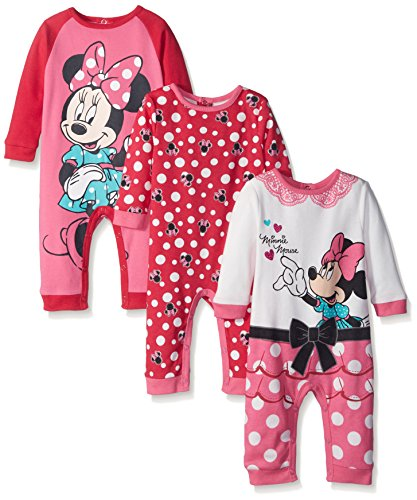 Disney Baby 3 Pack Minnie Coveralls, Pink, 6 Months