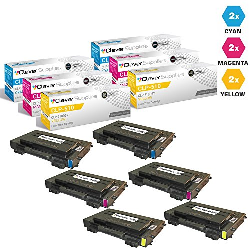 CS Compatible for Samsung CLP-510 CLP-510D5C Cyan, CLP-510D5M Magenta, CLP-510D5Y Yellow CLP-510, CLP-510N, CLP-515, Toner Cartridge 6 Color (Clp 510d5c Cyan Laser)