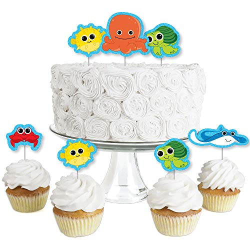 Under The Sea Critters - Dessert Cupcake Toppers - Baby Shower or Birthday Party Clear Treat Picks - Set of 24 ()