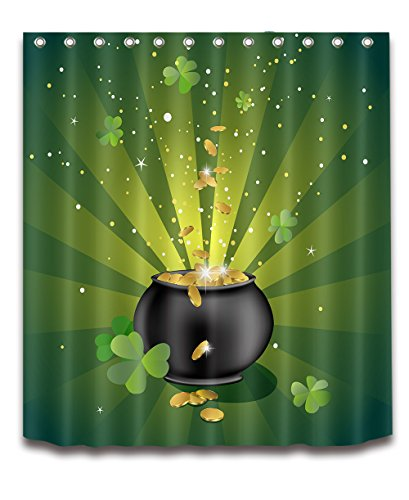 LB ST Saint Patricks Day Green Four Leaf Lucky Decoration Shower Curtain Polyester Fabric 3D 60x72