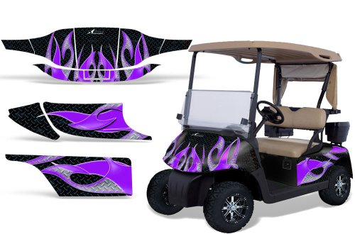 1996-2010 EZGO Golf Cart AMRRACING ATV Graphics Decal Kit-Tribal Flame-Purple-Black