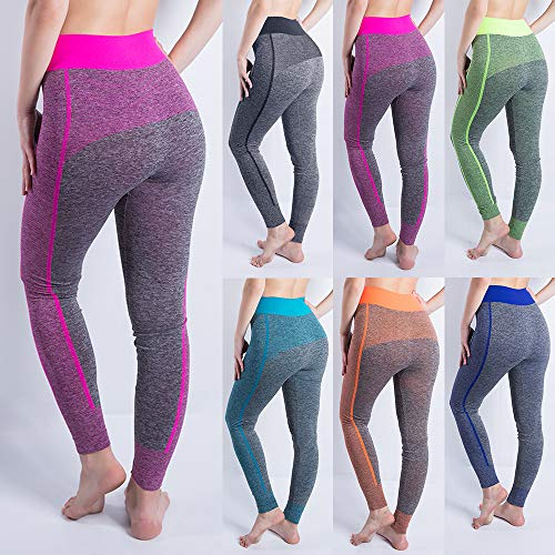 iLUGU Women Gym Yoga Patchwork Sports Running Fitness Leggings Pants Athletic Trouser(S,Black-11) by iLUGU (Image #2)