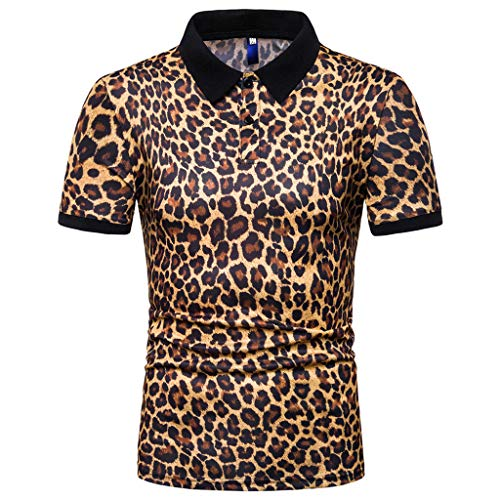 Mens Leopard Print Fashion Short Sleeve Large Size Casual Polo Shirt Tops ()