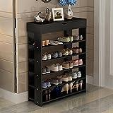 Soges Shoe Racks with Top Drawer Solid Wood Shoe Storage Shelf Organizer 5 Tiers Black L24-BK-CA
