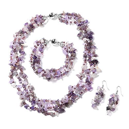 Amethyst Necklace Bracelet Earrings - Shop LC Delivering Joy Silvertone Stainless Steel Fancy Amethyst Purple Glass Bracelet 8