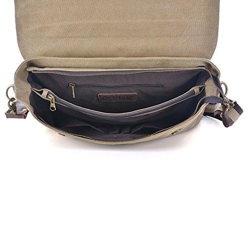cm Gootium Vintage Coffee Messenger 38 Bag Khaki Shoulder Laptop Canvas Leather qacT6q8SZ