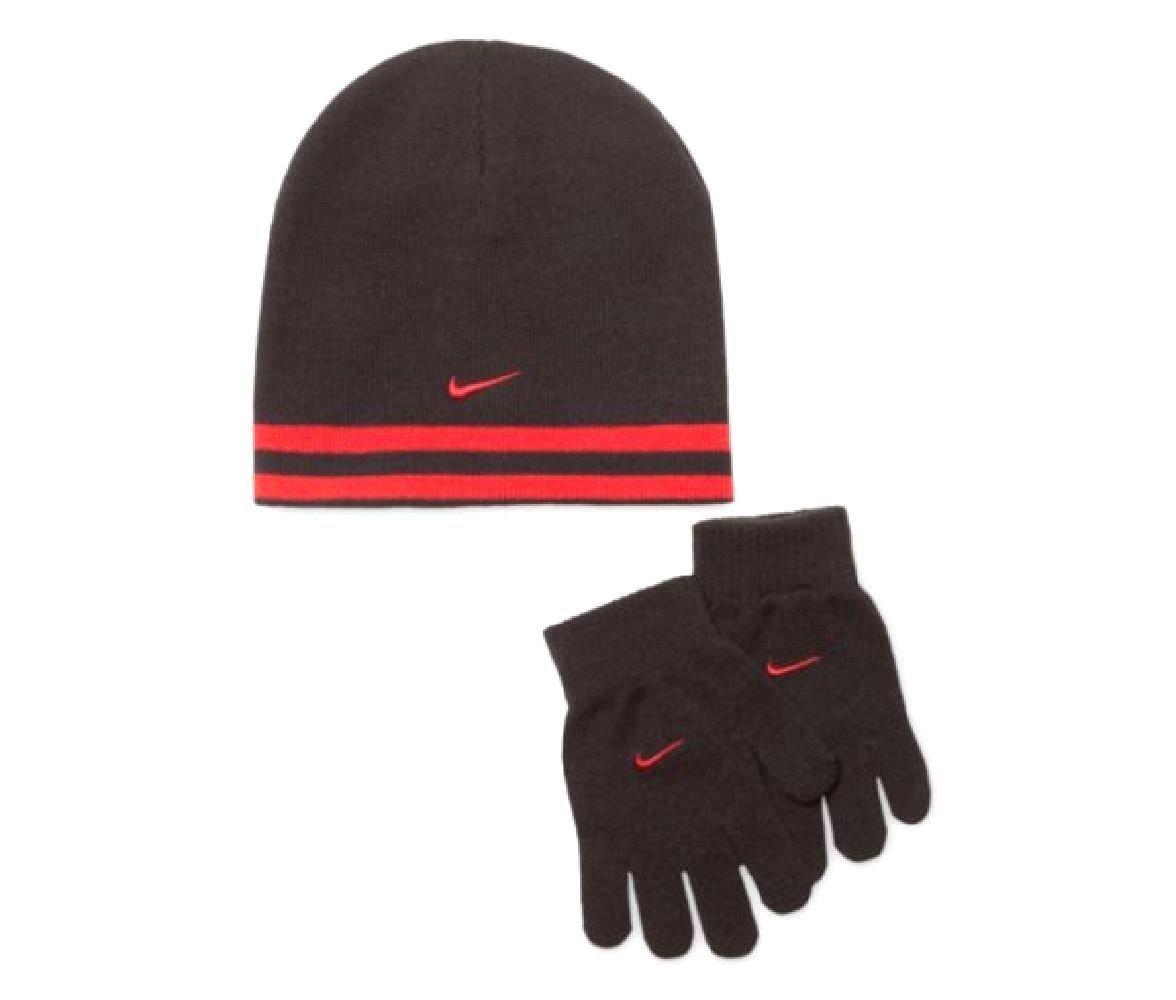 1b2ccfa39e0f78 Nike Swoosh Reversible Knit Beanie Skull Cap & Gloves Set Boys 8/20  Grey/Orange Boys