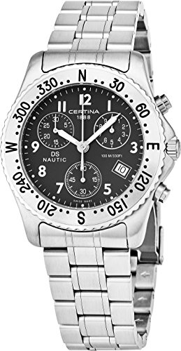 Certina DS Nautic Mens 38MM Black Face with Date Luminous Watch - Swiss Made Analog Quartz Stainless Steel Chronograph Watch C542.7118.42.69