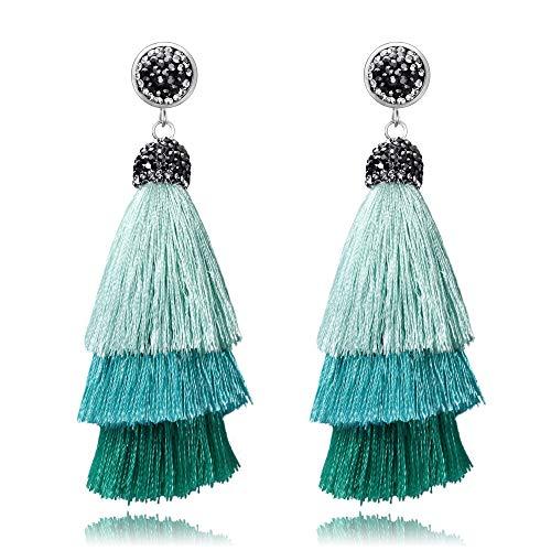 BriLove Green Tassel Earrings for Women Bohemian Boho Ombre Layered Tassel Fringe Thread Chandelier Black Crystal Dangle Earrings Turquoise Color Silver-Tone]()