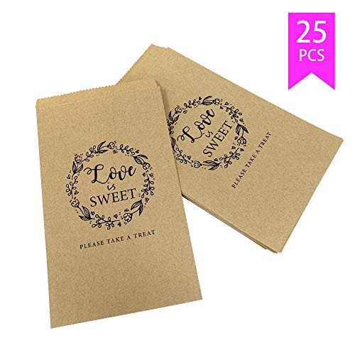 Lucky Party Wedding Favors Candy Buffet Bags - 25 Pcs 4.5 x 7.75 inches Brown Kaft Paper Wedding Favor Rustic Bags Good for Treat Snacks or Cookie Buffets - Please Take A Treat