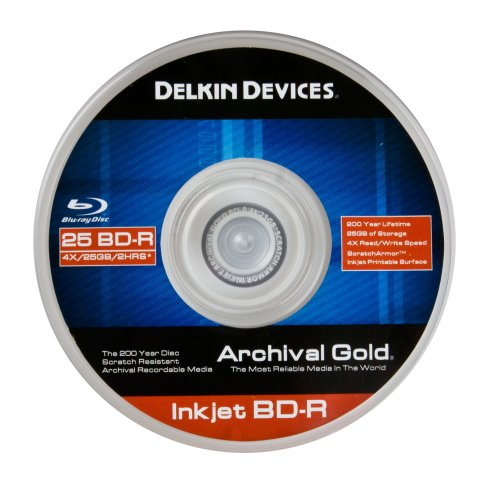 Image of Delkin Devices DDBD-R-I/25 SPIN 4X Inkjet BD-R Spindle - 25 Pack (Discontinued by Manufacturer) BD-R Discs