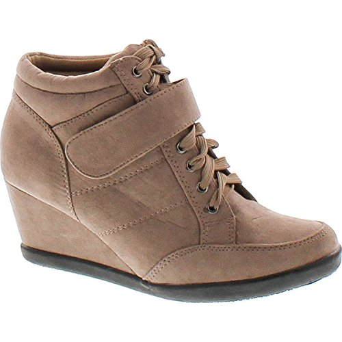 Forever Womens Peggy-51 Hot Fashion Lace Up Wedge Sneakers Casual Shoes Taupe 10