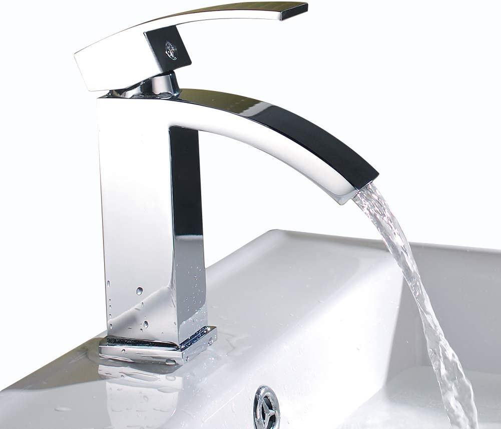 Chrome by aRise Contemporary Single Lever Cascade Waterfall Bathroom Basin Sink Mounted Tap Mixer