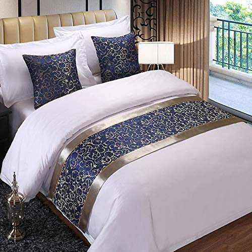 (QCQZPL Bed Runner Bedding Hotel Bed Tail Hotel Bed Flag High-Grade Simple Modern Chinese Luxury Gold Pure White Bed Cover Single Piece, Silver Side Blue Flower, 50240 (1.8 Bed))