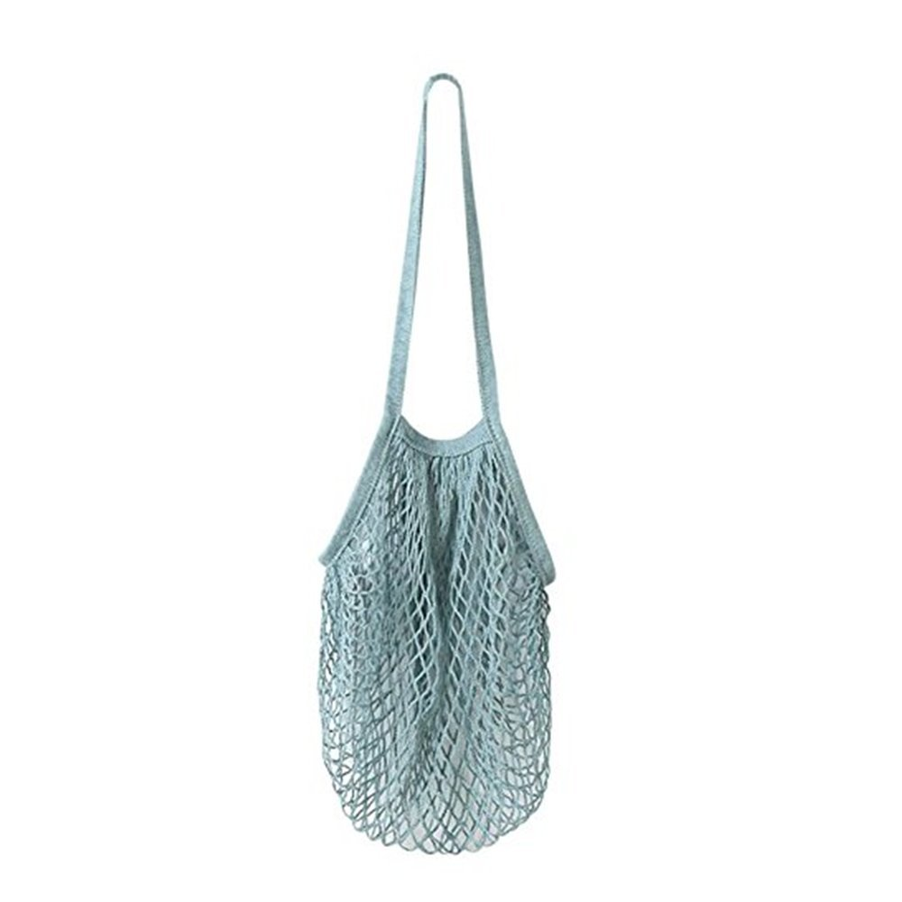 Baomabao Fruit String Grocery Shopper Cotton Tote Mesh Woven Net Shoulder Bag Reusable (Blue)