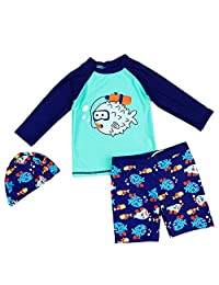 Best for All Baby Boys Two Piece Rash Guard Swimsuits Kids Long Sleeve Sunsuit Swimwear Sets with Hat