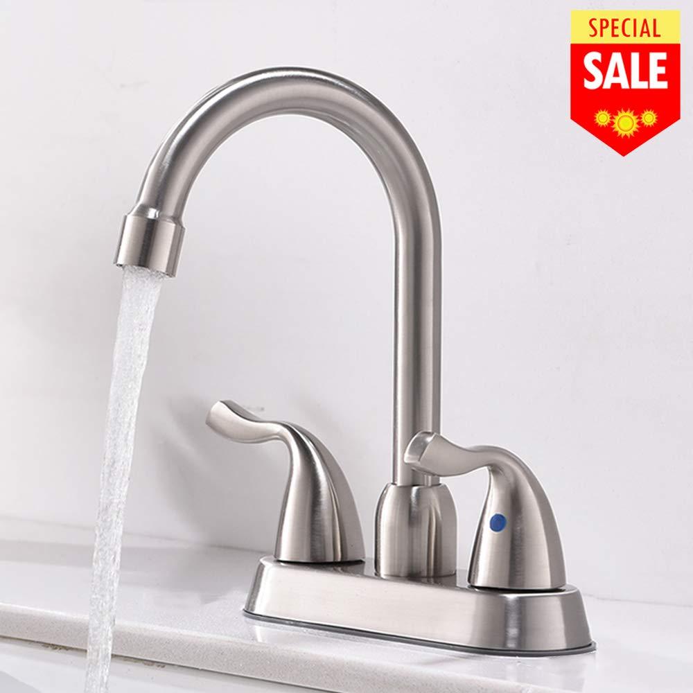 VESLA HOME Modern 2 Handle Stainless Steel Vessel Vanity Bathroom Sink Faucet,Brushed Nickel Bathroom Faucets