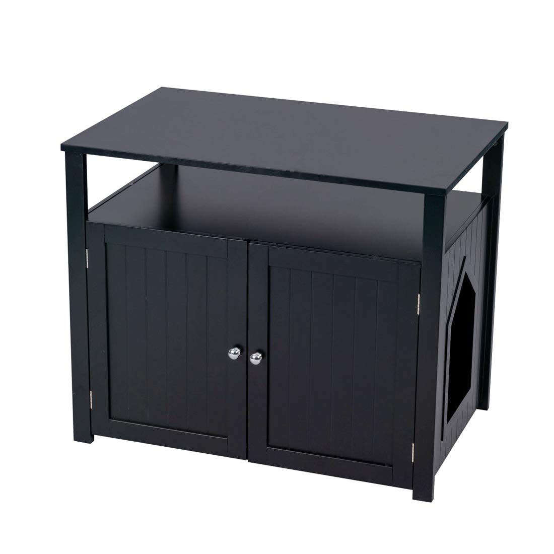 Good Life Double-Door Pet Crate Cat Washroom Hidden Cat Litter Box Enclosure Furniture Cat House Right/Left Side Entrance Selectable with Table Home Nightstand Large Box Black Color by GOOD LIFE USA