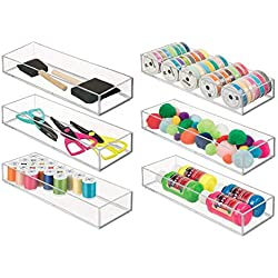 """mDesign Stackable Drawer Organizer Storage Bin Tray - Holder for Craft, Sewing, Hobby, Art Supplies in Home, Classroom, or Studio - Durable Shatter-Resistant Plastic - Long, 12"""" - Pack of 6, Clear"""