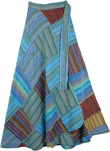 TLB - Groovy Blue Vibes Patchwork Wrap Around Skirt - L:37