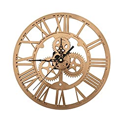 SING F LTD Wall Clock,Vintage Retro Iron Roman Numeral Steampunk Wall Clock For Home Decor,Gold